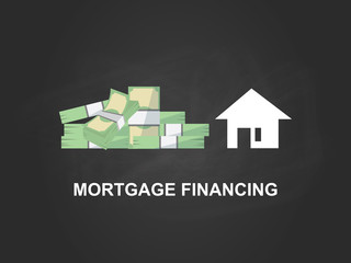 Mortgage financing white text illustration with a white house silhouette, heap of money and black background