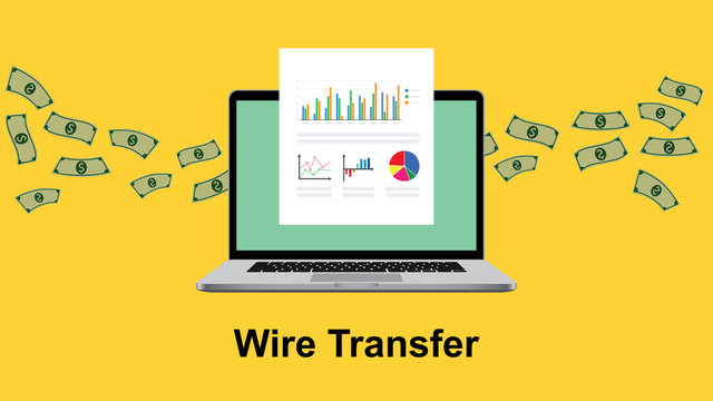 wire transfer illustration with paperwork in front of laptop screen and flying money as background