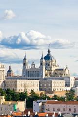 Western part of Santa Maria la Real de La Almudena cathedral in Madrid, Spain