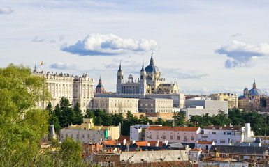 Panoramic view to Santa Maria la Real de La Almudena cathedral and Royal Palace in Madrid, Spain