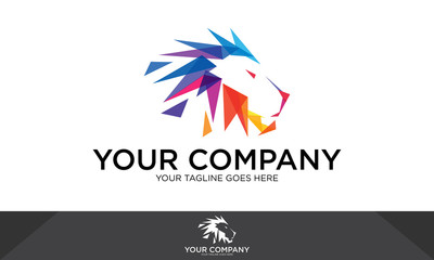Abstract lion logo, lion illustration, lion vector template