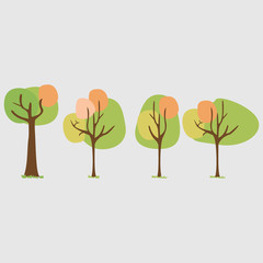 Concept of trees. Flat trees set. Vector illustration