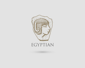 Egyptian pharaon logo with symbol of ancient civilization vintage, engraved hand drawn in sketch or wood cut style, old looking retro