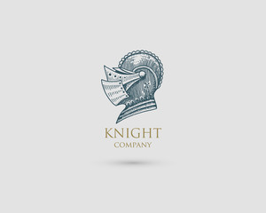 Helmet Logo, medieval knight antique vintage symbol , engraved hand drawn in sketch or wood cut style, old looking retro