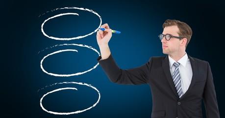 Businessman drawing  outline against blue background
