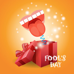 First April Fool Day Happy Holiday Greeting Card Flat Vector Illustration
