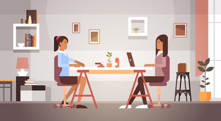 Two Indian Business Woman Sitting Desk Working Laptop Computer Businesswoman Office Flat Vector Illustration