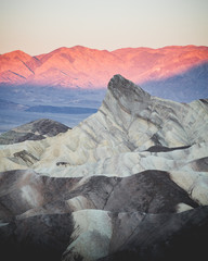 View of Zabriskie Point at Death Valley mountains