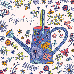 Spring card with flowers and a watering can.