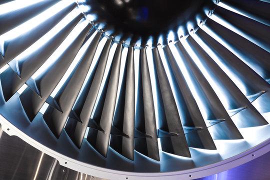 Jet engine turbine blade airplane of background