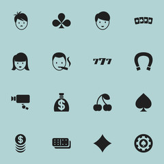 Set Of 16 Editable Excitement Icons. Includes Symbols Such As Boy, Card Suits, Woman Face And More. Can Be Used For Web, Mobile, UI And Infographic Design.