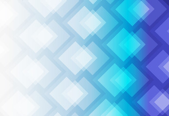 White and blue abstract background vector art of overlap of colorful squares.