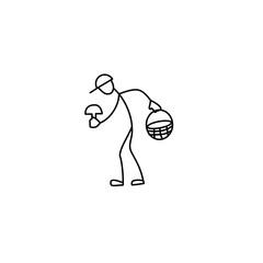 Stick fiure man picking musrooms
