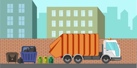 Garbage removal service dustcart vector flat city