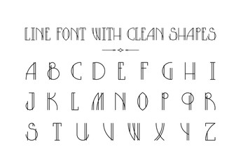 Lined hipster styled trendy font with minimalistic thin shapes