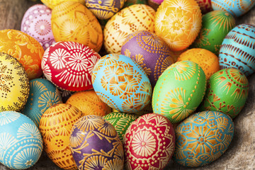 Easter eggs, Paschal eggs collection, decorated with beeswax - to celebrate Easter. Its old tradition in Lithuania, Eastern Europe.