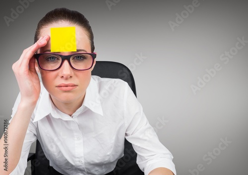 """""""Serious businesswoman with sticky note on her forehead ..."""