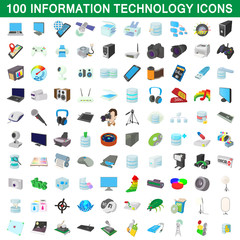 100 information technology icons set