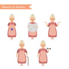 Funny Grandmother housewife cartoon.