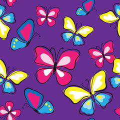 Seamless texture with multicolored butterflies on a violet background