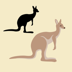 Kangaroo Flat style vector illustration set