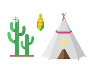Wild west american indian designed element traditional art concept and native tribal ethnic feather culture ornament for the design vector illustration.