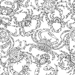 Vector seamless crabs pattern.