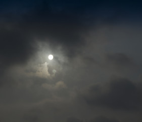 Sun shine in cloudy sky