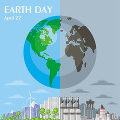 Earth day. Save the planet. A poster depicting urban and industrial landscapes