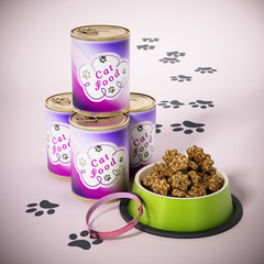 Cat collar, food container and cans. 3D illustration