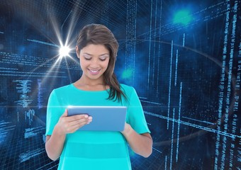 Woman using digital tablet against binary code interface