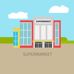 Colored supermarket building illustration