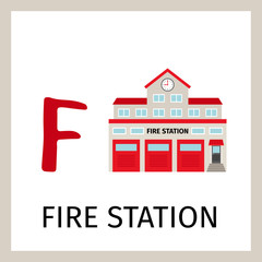 Alphabet card with fire station building