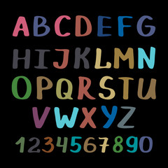 Calligraphy alphabet on black background