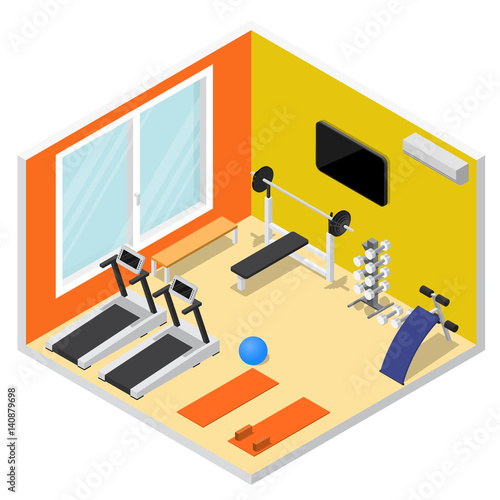 "Isometric Exercises Equipment: ""Interior Gym With Exercise Equipment Isometric View"