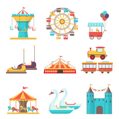 Set of amusement park elements on white background