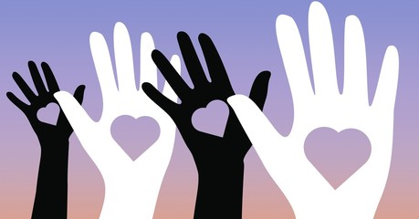 Illustration of black and white hands with heart shapes