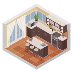 Kitchen Interior Isometric Composition