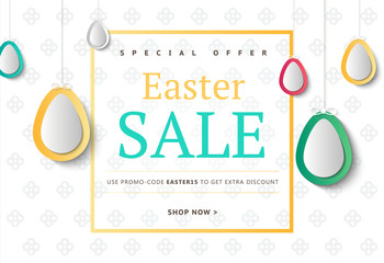Creative Easter abstract social media web banners for cell phone or newsletter ad. Email holiday promotion or sale background. Promotional offer flyer layout. Vector template design.