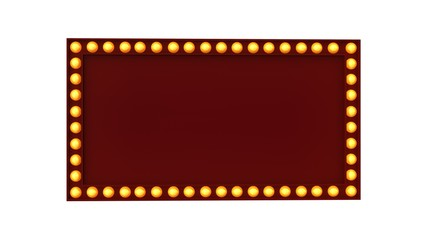 Marquee light red board sign retro on white background. 3d rendering
