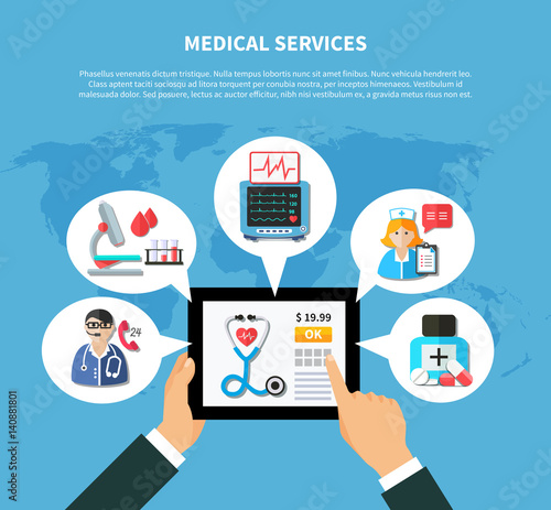 Online Medical Services Flat Design Stock Image And