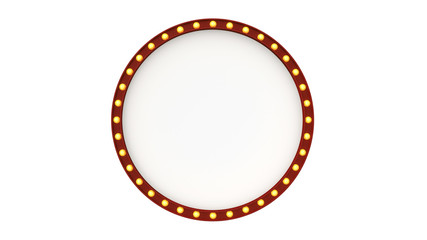 circle light board sign retro on white background. 3d rendering