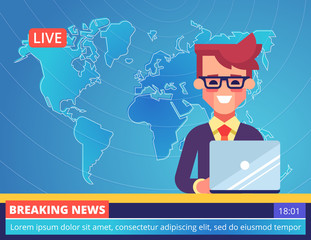 Handsome young tv newscaster man reporting breaking news sitting in a studio with world map on background. Modern vector illustration.