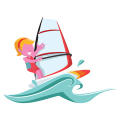 pink girl wind surfer