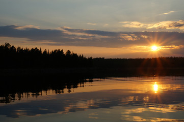 Picture of sunset at lake