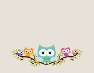 Poster Uilen cartoon owl in vector