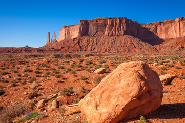 Three Sisters  from far in Monument Valley
