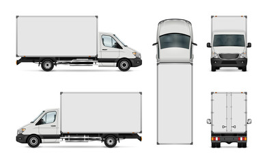 White van vector template. Isolated delivery truck. All elements in the groups have names, the view sides are on separate layers for easy editing. View from side, back, front and top.