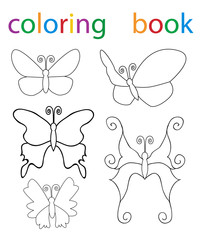 Vector, book coloring cartoon butterfly character set