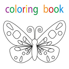 Vector, book coloring cartoon butterfly character isolated